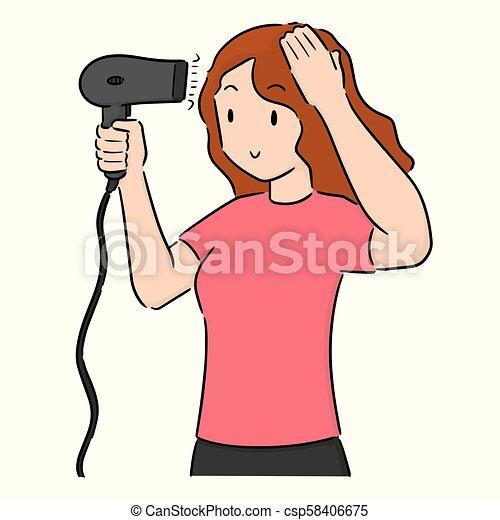 Vector Set Of Woman Using Hair Dryer