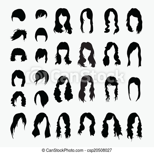 Vector Set Of Womens Hairstyles Human Model