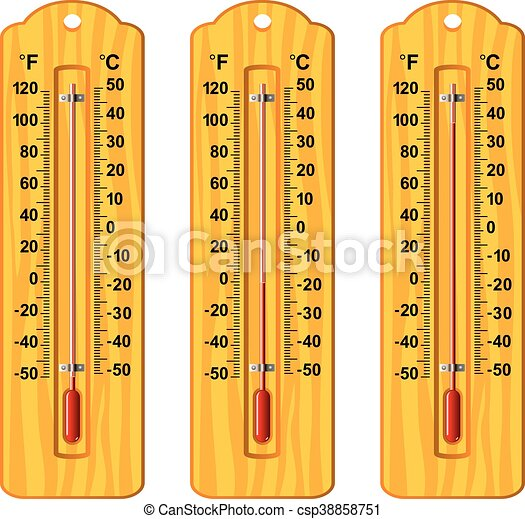 vector set of wooden thermometers at different levels - csp38858751