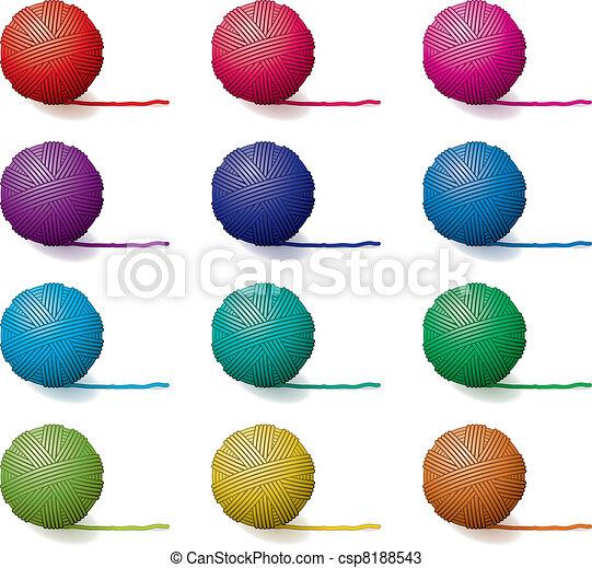 vector set of yarn balls - csp8188543
