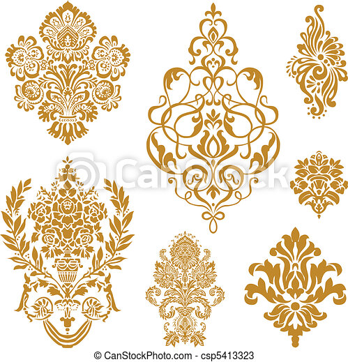 vector, set, ornament, goud, damast - csp5413323