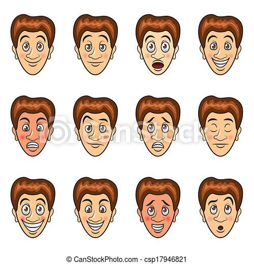 vector, set, spotprent, emoties, man's - csp17946821