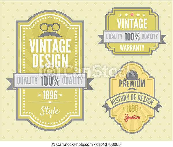 Vector set vintage labels  - csp13703085