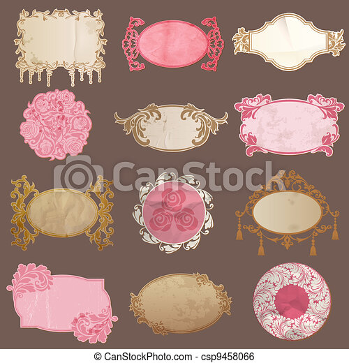 Vector Set Vintage Paper Frame Collection Various Tags For Your