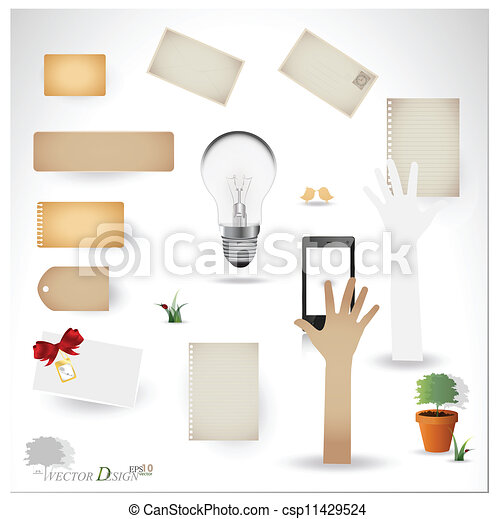 Vector set: Vintage postcard, bulb, phone and blank paper designs. (variety of scraps for your layouts or scrapbooking projects) - csp11429524