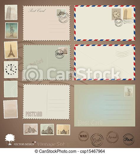 Vector set: Vintage postcard designs, envelopes and stamps. - csp15467964