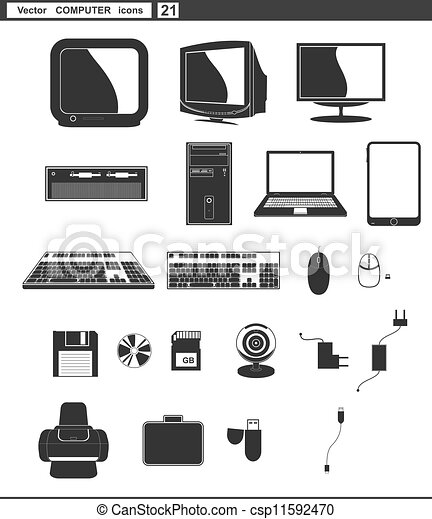 Vector set web icons  retro monitor and computer