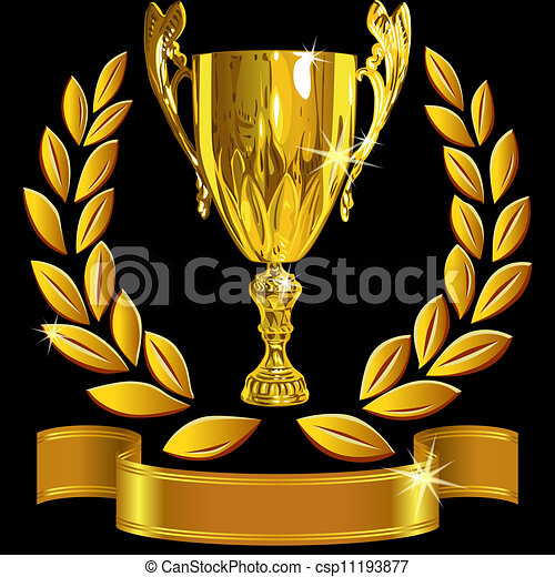 vector set Winning success gold cup, laurel wreath and a shiny ribbon on a black background - csp11193877