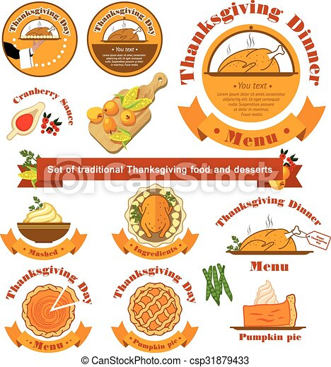 Vector. Set with a traditional food on Thanksgiving Day on isola - csp31879433