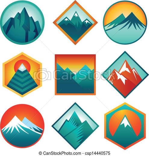 Vector set with abstract logos  - mountains - csp14440575