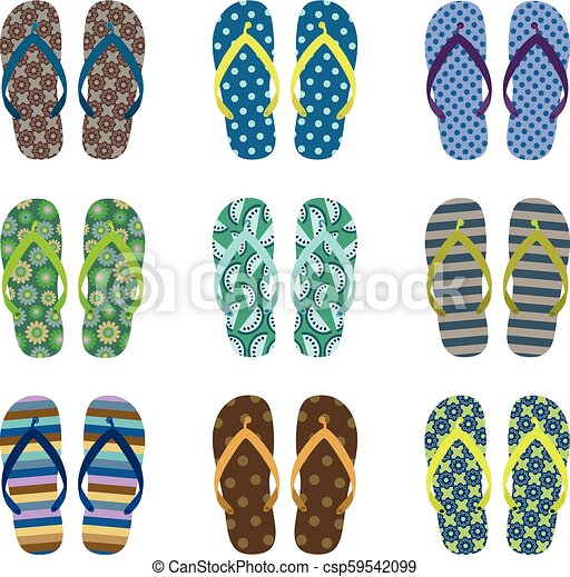 Vector set with cute summer flip flops