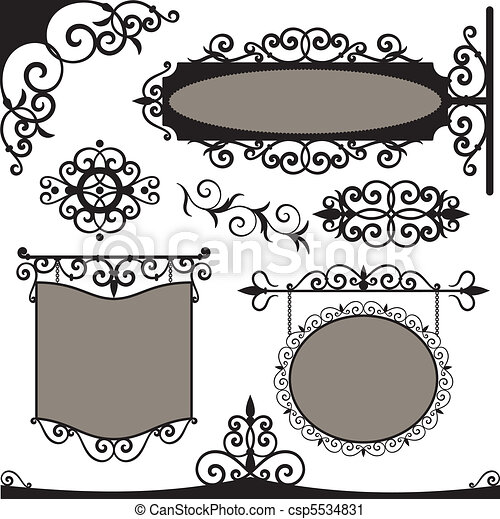 Vector set: wrought iron vintage signs - csp5534831