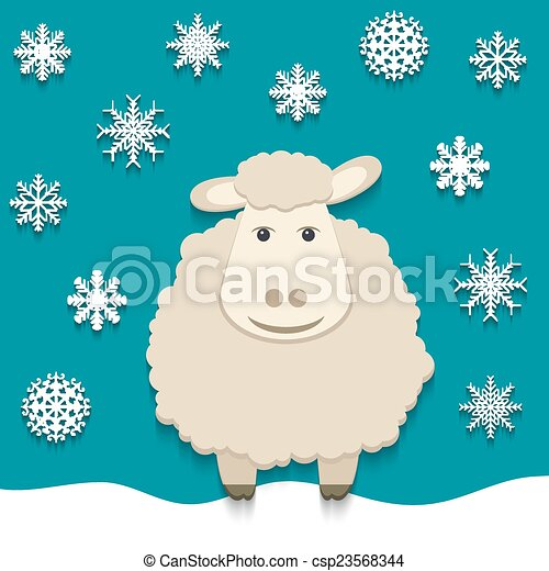Vector sheep - symbol of 2015 - csp23568344