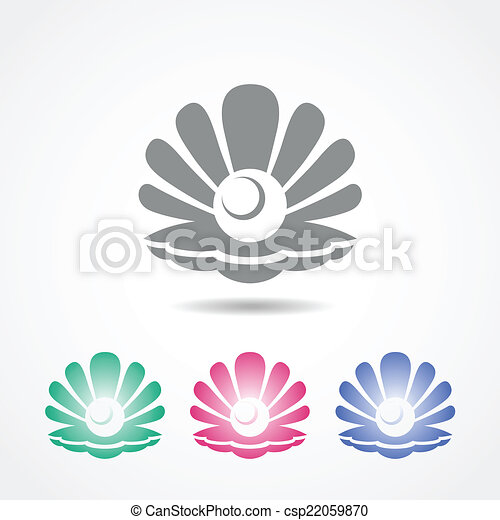 Vector shell icon with a pearl in different colors - csp22059870