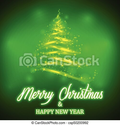vector shiny green christmas tree with neon merry christmas and happy new year lettering on colorful