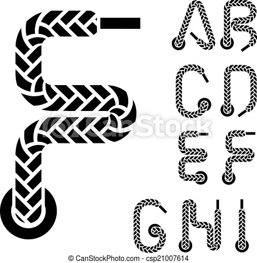 vector shoe lace alphabet letters part 1 - csp21007614