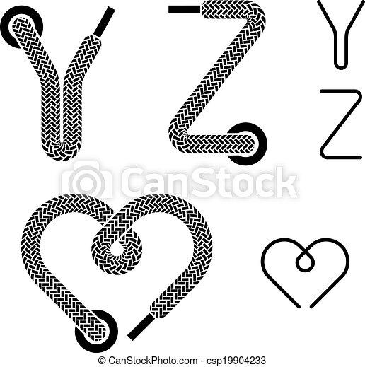 vector shoe lace alphabet letters Y Z heart - csp19904233