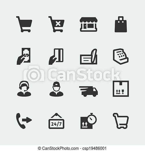 Vector shopping and e-store mini icons set - csp19486001