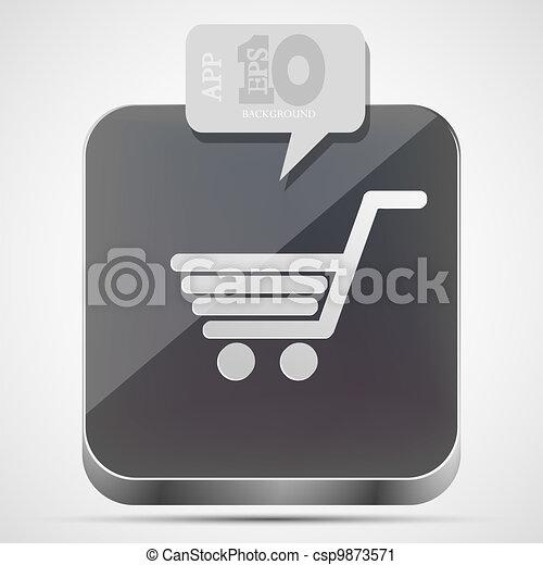 Vector shopping app icon with gray bubble speech. Eps10 - csp9873571
