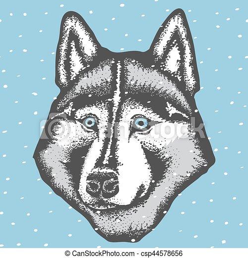 vector siberian husky vector dog concept hand draw siberian husky