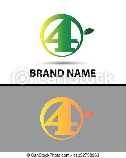 Vector sign Eco number four logo - csp32758363
