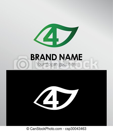Vector sign number four logo - csp30043463