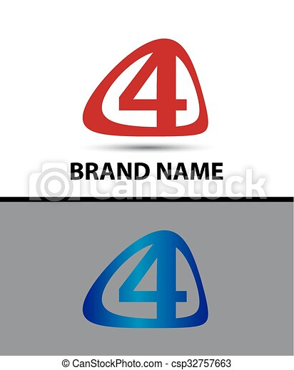 Vector sign number four logo - csp32757663