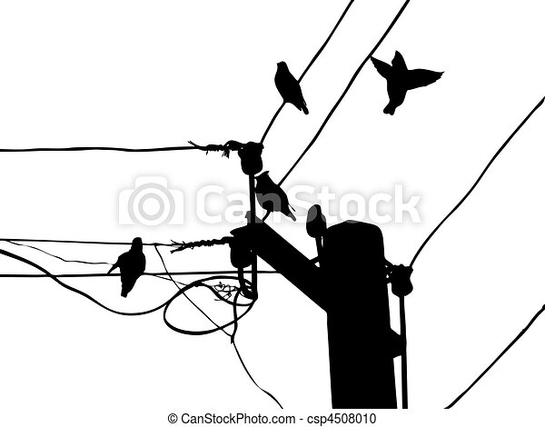 Vector silhouette birds to waxwings on wire vector clipart - Search ...
