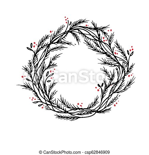 Christmas Wreath Silhouette Free.Vector Silhouette Christmas Wreath Frame Or Border