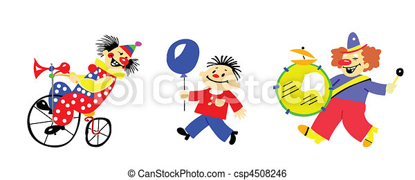 vector silhouette clown on white background - csp4508246