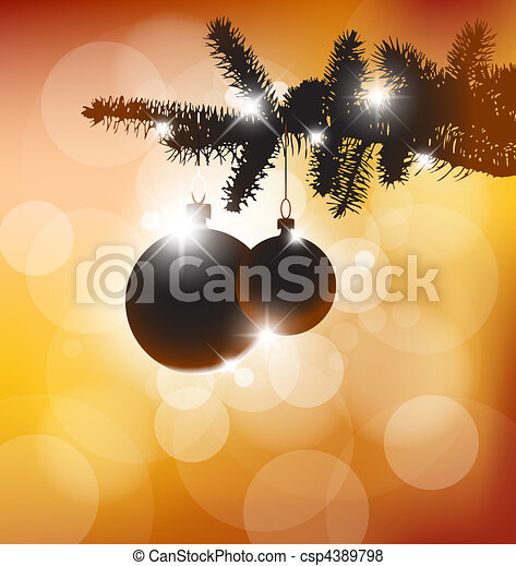 Vector silhouette of a Christmas tree - csp4389798