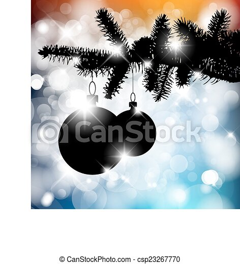 Vector silhouette of a Christmas tree with bulbs - csp23267770