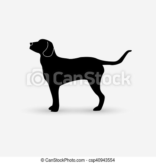 Vector silhouette of a dog on white background. - csp40943554