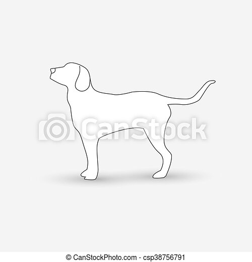 Vector silhouette of a dog on white background. - csp38756791