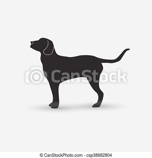 Vector silhouette of a dog on white background. - csp38682804