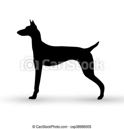 Vector silhouette of a dog on white background. - csp38686005
