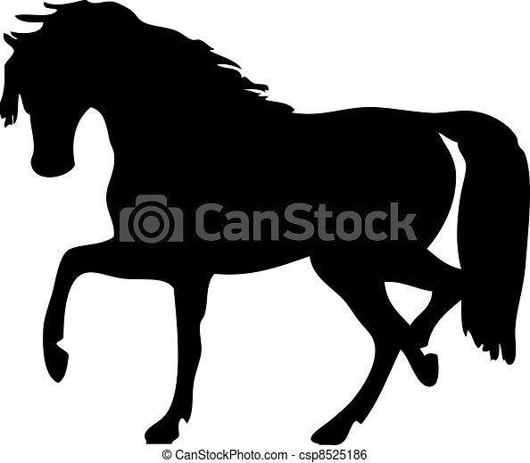 vector silhouette of a horse on a white background - csp8525186