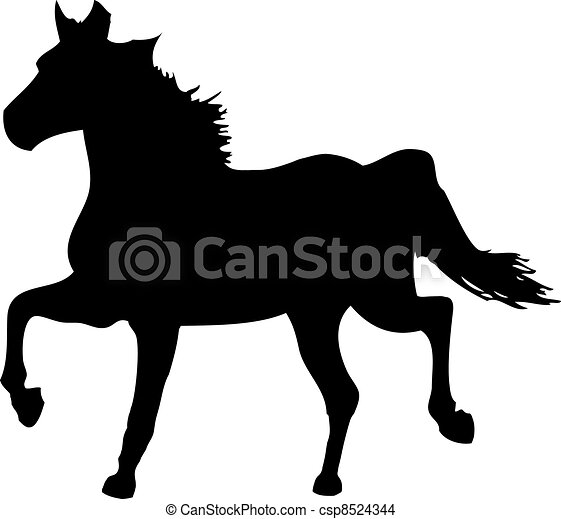vector silhouette of a horse on a white background - csp8524344