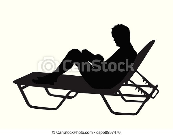 Vector silhouette of a man read book on chaise longue on white background - csp58957476