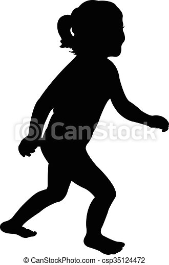 Vector silhouette of a running girl - csp35124472