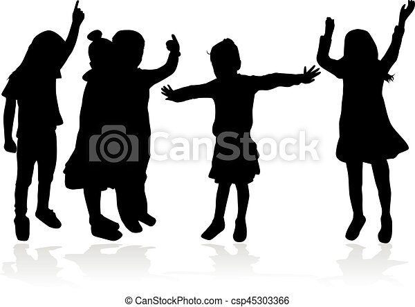 Vector silhouette of children on white background. - csp45303366