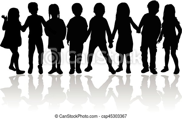 Vector silhouette of children on white background. - csp45303367