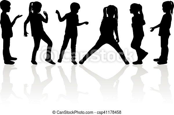Vector silhouette of children on white background. - csp41178458
