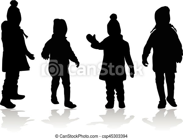 Vector silhouette of children on white background. - csp45303394