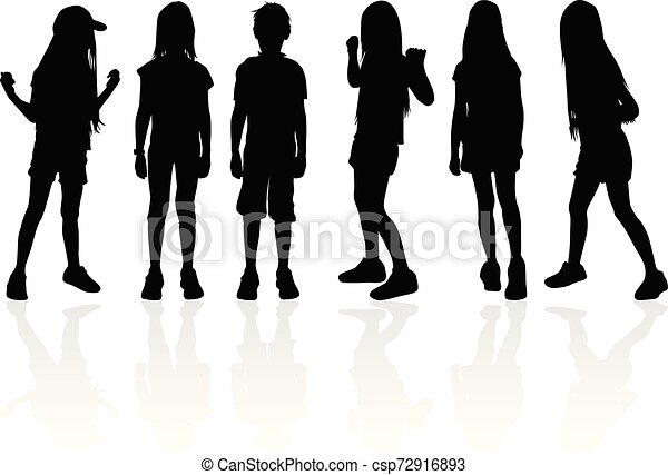 Vector silhouette of children on white background. - csp72916893