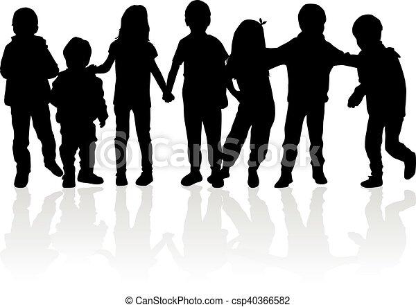 Vector silhouette of children on white background. - csp40366582