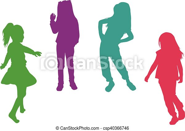 Vector silhouette of children on white background. - csp40366746