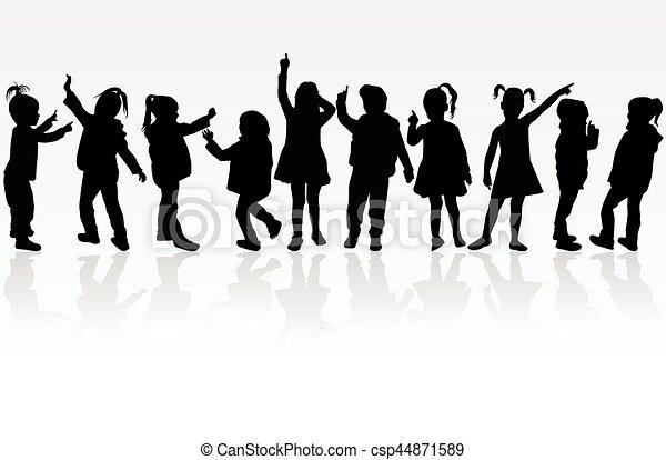Vector silhouette of children on white background. - csp44871589