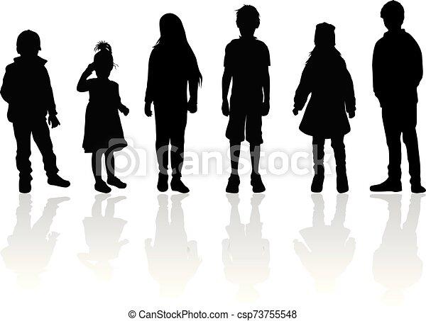 Vector silhouette of children on white background. - csp73755548