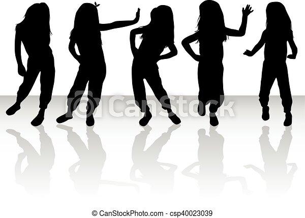 Vector silhouette of children on white background. - csp40023039